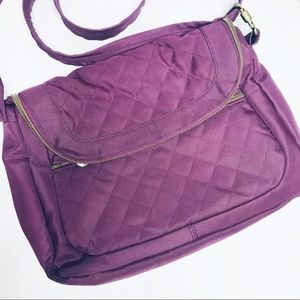 TRAVELON QUILTED PURPLE CROSSBODY PURSE